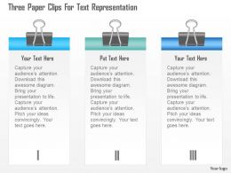 1214 Three Paper Clips For Text Representation Powerpoint Template