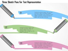 1214 Three Sketch Pens For Text Representation Powerpoint Template