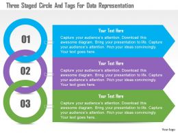 1214 Three Staged Circle And Tags For Data Representation Powerpoint Template