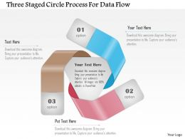 1214 Three Staged Circle Process For Data Flow Powerpoint Template