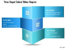 1214 Three Staged Cubical Ribbon Diagram Powerpoint Template