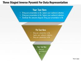 1214 Three Staged Inverse Pyramid For Data Representation PowerPoint Template