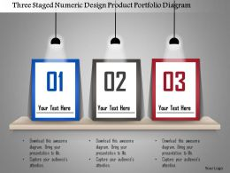 1214 Three Staged Numeric Design Product Portfolio Diagram Powerpoint Template