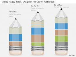 1214 Three Staged Pencil Diagram For Graph Formation Powerpoint Slide