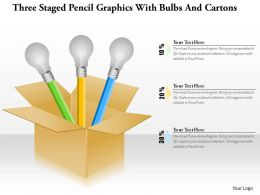 1214 Three Staged Pencil Graphics With Bulbs And Cartons Powerpoint Template