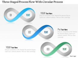 1214 Three Staged Process Flow With Circular Process Powerpoint Template