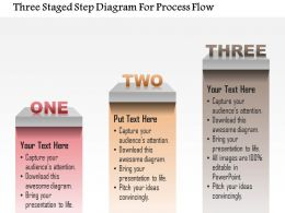 1214 Three Staged Step Diagram For Process Flow Powerpoint Template