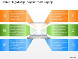 1214 Three Staged Step Diagram With Laptop Powerpoint Template
