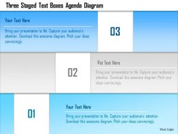 1214 Three Staged Text Boxes Agenda Diagram Powerpoint Template