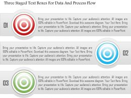1214 Three Staged Text Boxes For Data And Process Flow PowerPoint Template
