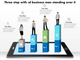 1214 Three Step With 3d Business Man Standing Over It Powerpoint Slide