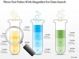 1214 Three Test Tubes With Magnifier For Data Search Powerpoint Slide