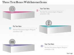 1214 Three Text Boxes With Internet Icons Powerpoint Template