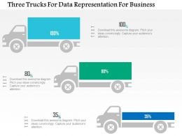 1214 Three Trucks For Data Representation For Business Powerpoint Slide