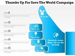 1214 Thumbs Up For Save The World Campaign PowerPoint Template