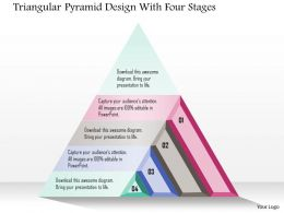 1214 Triangular Pyramid Design With Four Stages Powerpoint Template