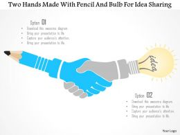 1214 Two Hands Made With Pencil And Bulb For Idea Sharing PowerPoint Template