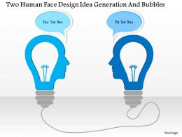 1214 Two Human Face Design Idea Generation And Bubbles Powerpoint Template
