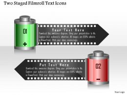 1214 Two Staged Filmroll Text Icons Powerpoint Template