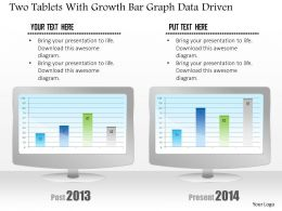 1214 Two Tablets With Growth Bar Grah Data Driven Powerpoint Slide