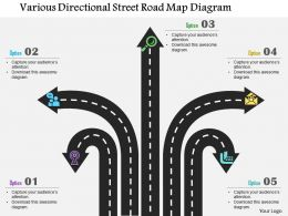 1214 Various Directional Street Road Map Diagram Powerpoint Template