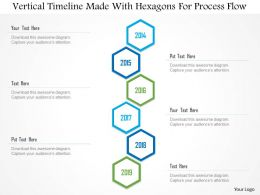 1214 Vertical Timeline Made With Hexagons For Process Flow PowerPoint Template