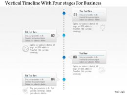 1214 Vertical Timeline With Four Stages For Business PowerPoint Template