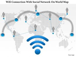 1214 Wifi Connection With Social Network On World Map PowerPoint Presentation