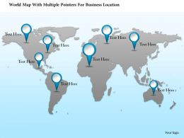 1214 World Map With Multiple Pointers For Business Location PowerPoint Template