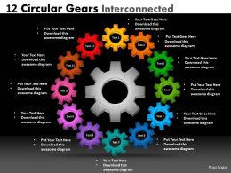 12 Circular Gears Interconnected