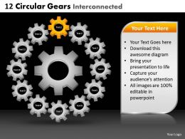 12 Circular Gears Interconnected Powerpoint Slides And Ppt Templates DB