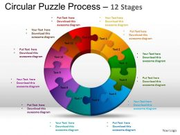 12 Components Circular Puzzle Process Powerpoint Slides And ppt Templates 0412