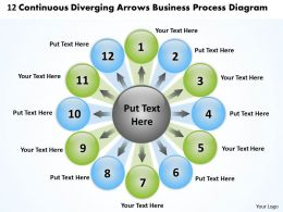 12 continuous diverging arrows business process diagram Software PowerPoint Slides