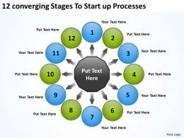 12 converging stages to startup processes Charts and PowerPoint Slides