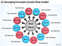 12 diverging concepts circular flow model Spoke Diagram PowerPoint templates
