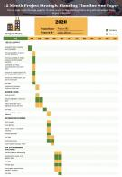 12 Month Project Strategic Planning Timeline One Pager Presentation Report PPT PDF Document