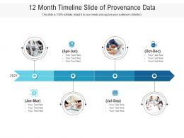 12 Month Timeline Slide Of Provenance Data Infographic Template