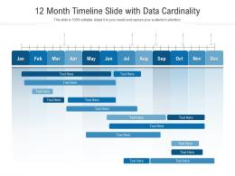 12 Month Timeline Slide With Data Cardinality Infographic Template