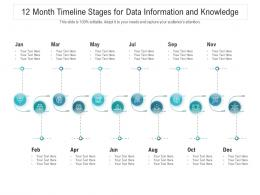 12 Month Timeline Stages For Data Information And Knowledge Infographic Template