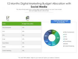 12 Months Digital Marketing Budget Allocation With Social Media