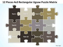 12 Pieces 4x3 Rectangular Jigsaw Puzzle Matrix Powerpoint templates 0812