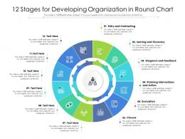 12 Stages For Developing Organization In Round Chart