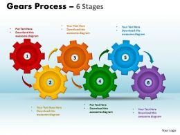 15 Gears Process 6 Stages Style 1 Powerpoint