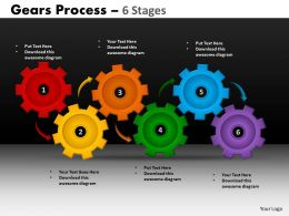 16 Gears Process 6 Stages Style 1 Powerpoint Slides And Ppt