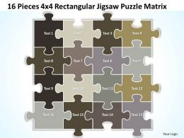 16 Pieces 4x4 Rectangular Jigsaw Puzzle Matrix Powerpoint templates 0812