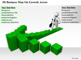 1813 3D Business Man On Growth Arrow Ppt Graphics Icons Powerpoint