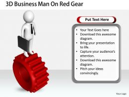 1813 3D Business Man On Red Gear Ppt Graphics Icons Powerpoint