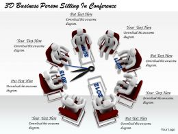 1813 3D Business Person Sitting In Conference Ppt Graphics Icons Powerpoint