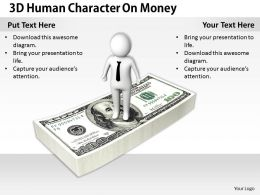 1813 3D Human Character On Money Ppt Graphics Icons Powerpoint