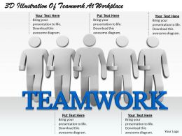 1813 3D Illustration Of Teamwork At Workplace Ppt Graphics Icons Powerpoint
